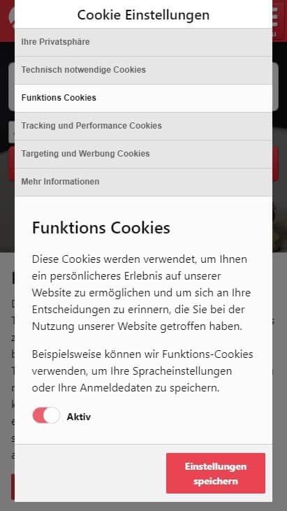 Cookie-Consent-Dialog auf discoverize Marktplatz