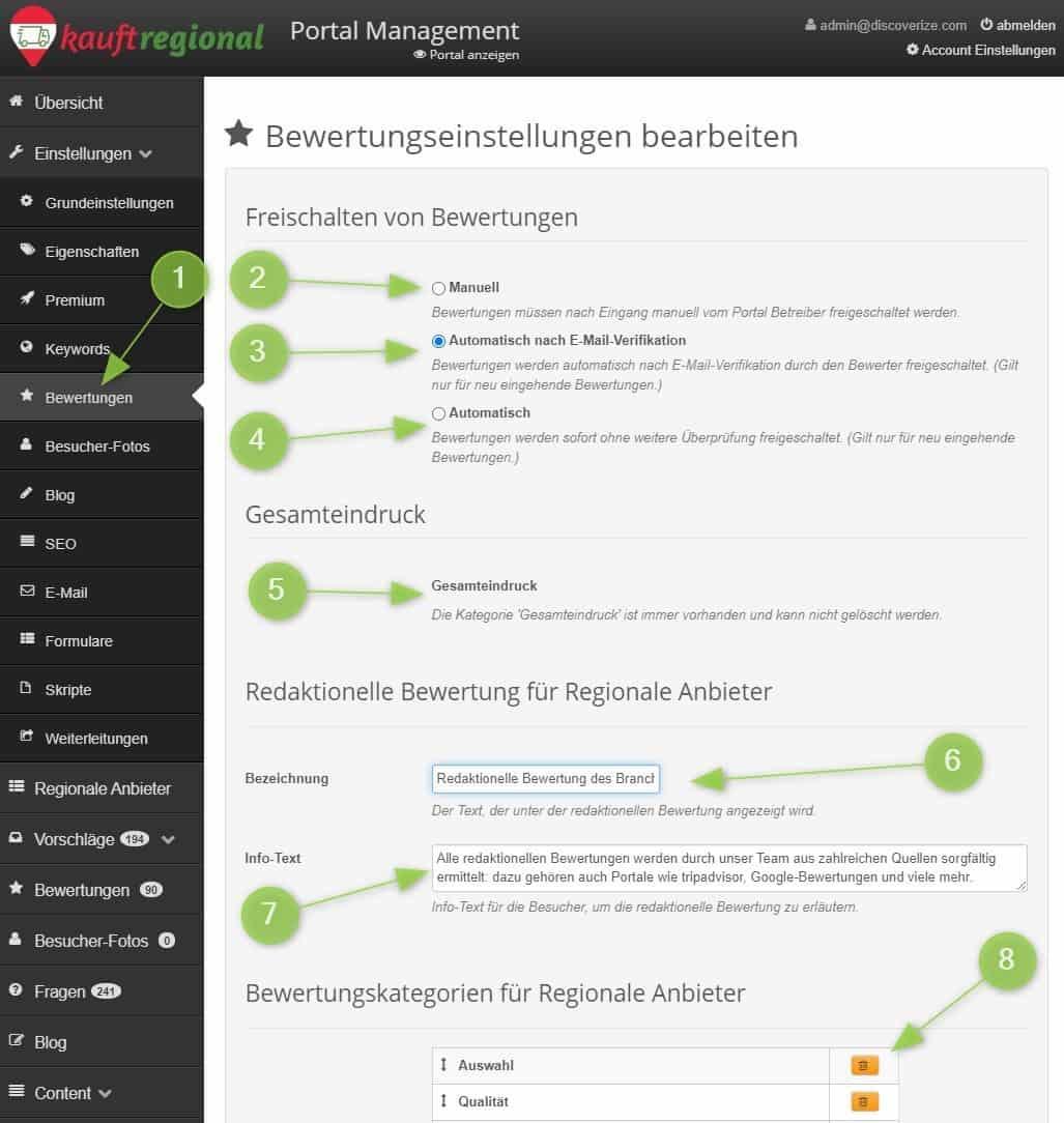 Bewertungseinstellungen im Portalmanagemt