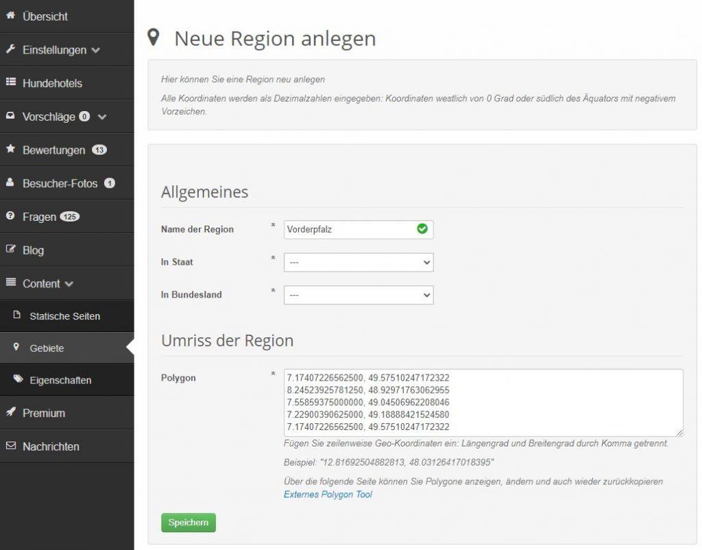 Regionen editieren: Neue Region anlegen