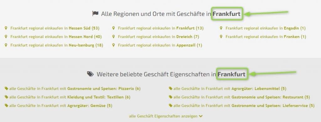 Initiale Suchseite mit Gebietsnamen auf regionalen Portalen