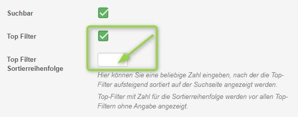 Sortierreihenfolge für Top Filter festlegen