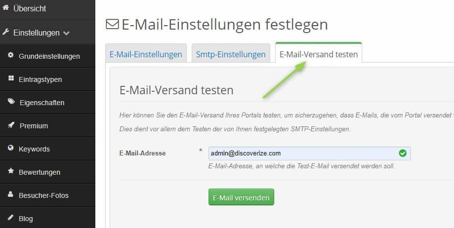 Reiter zum E-Mail-Versand testen