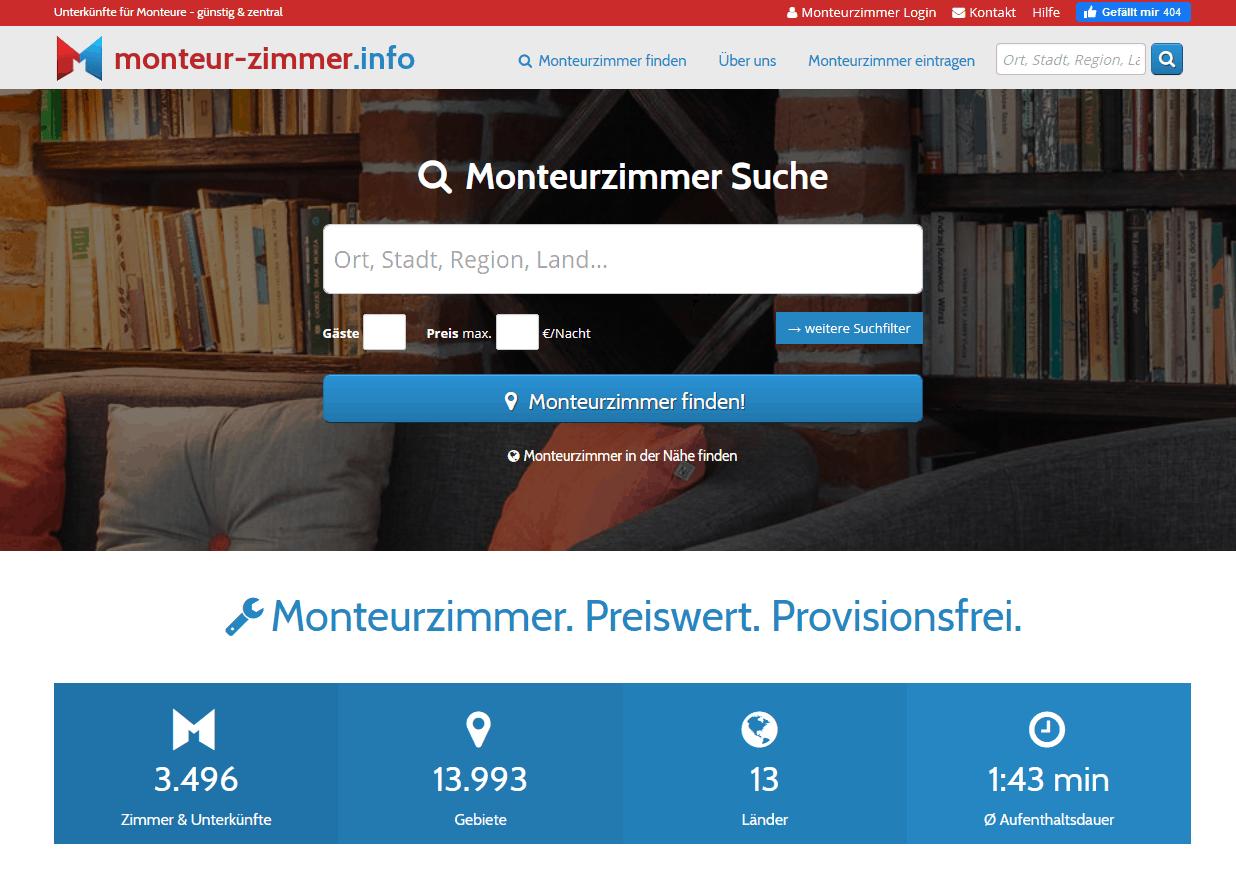 Hero-Bereich vom Branchenportal Monteur-zimmer.info