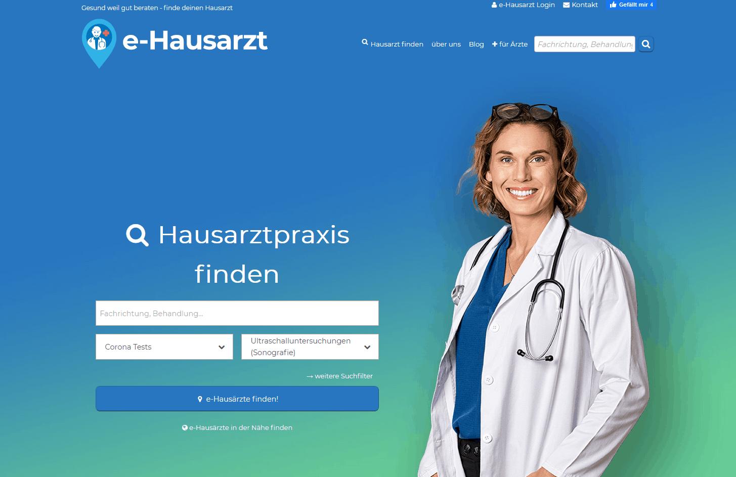 Hero mit Verlauf und Bild - Suche links/rechts im Branchenportal e-hausarzt.info