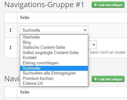 Linktypen für Header-Navigation