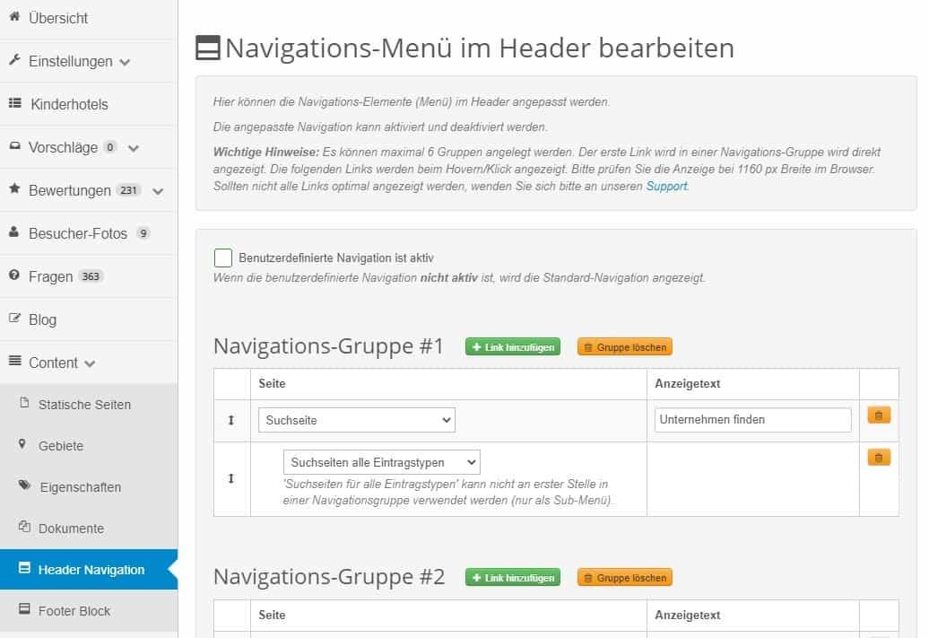 Überblick Bearbeitung benutzerdefinierte Header-Navigation
