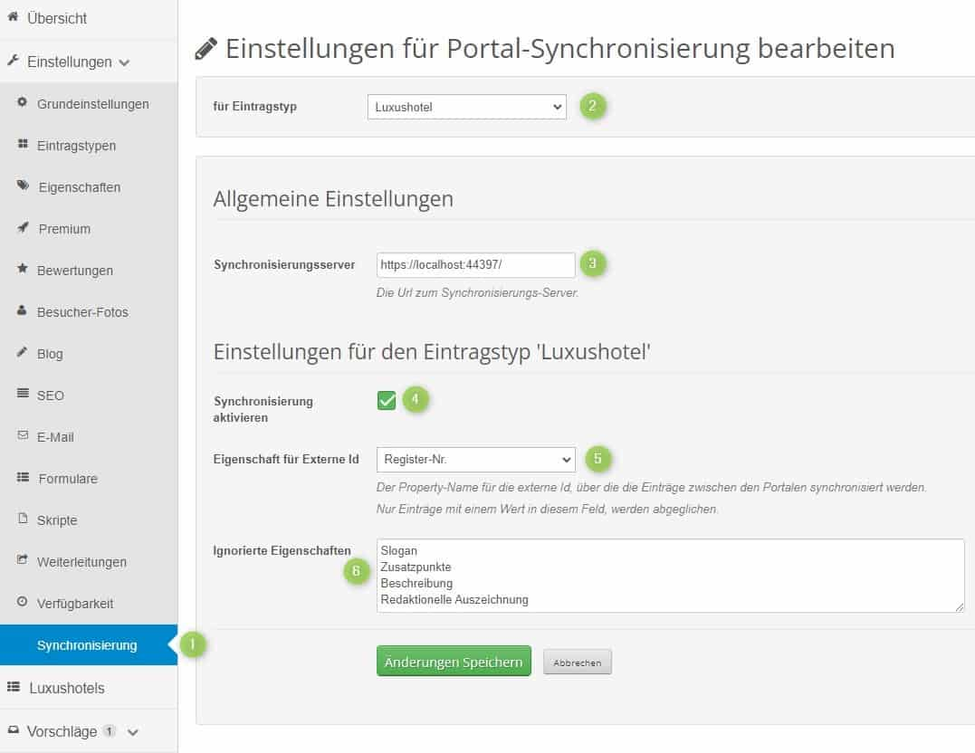 Einstellungen für die Portal-Synchronisierung